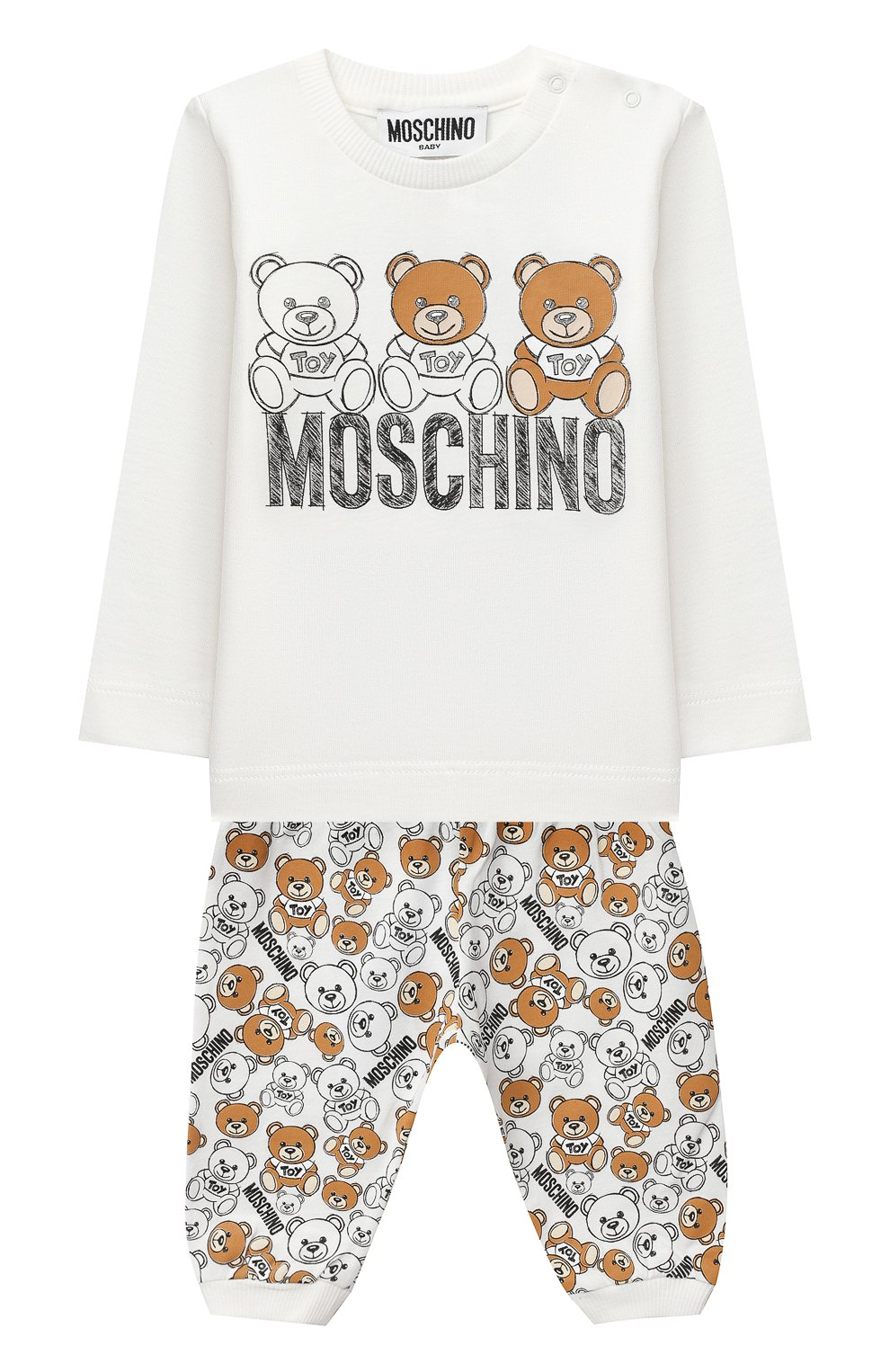 Детский комплект из лонгслива и брюк MOSCHINO бежевого цвета, арт. MUK02S/LAB19   Фото 1