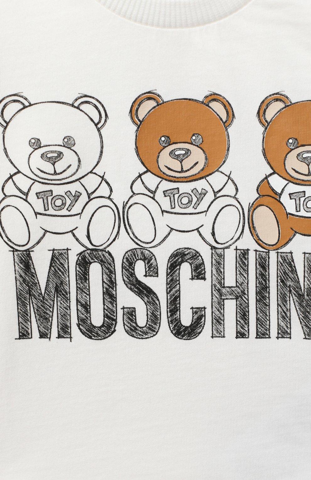 Детский комплект из лонгслива и брюк MOSCHINO бежевого цвета, арт. MUK02S/LAB19   Фото 4