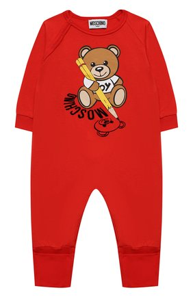 Детский хлопковый комбинезон MOSCHINO красного цвета, арт. MUT01R/LAA10 | Фото 1