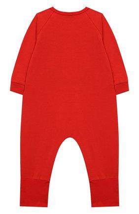 Детский хлопковый комбинезон MOSCHINO красного цвета, арт. MUT01R/LAA10 | Фото 2