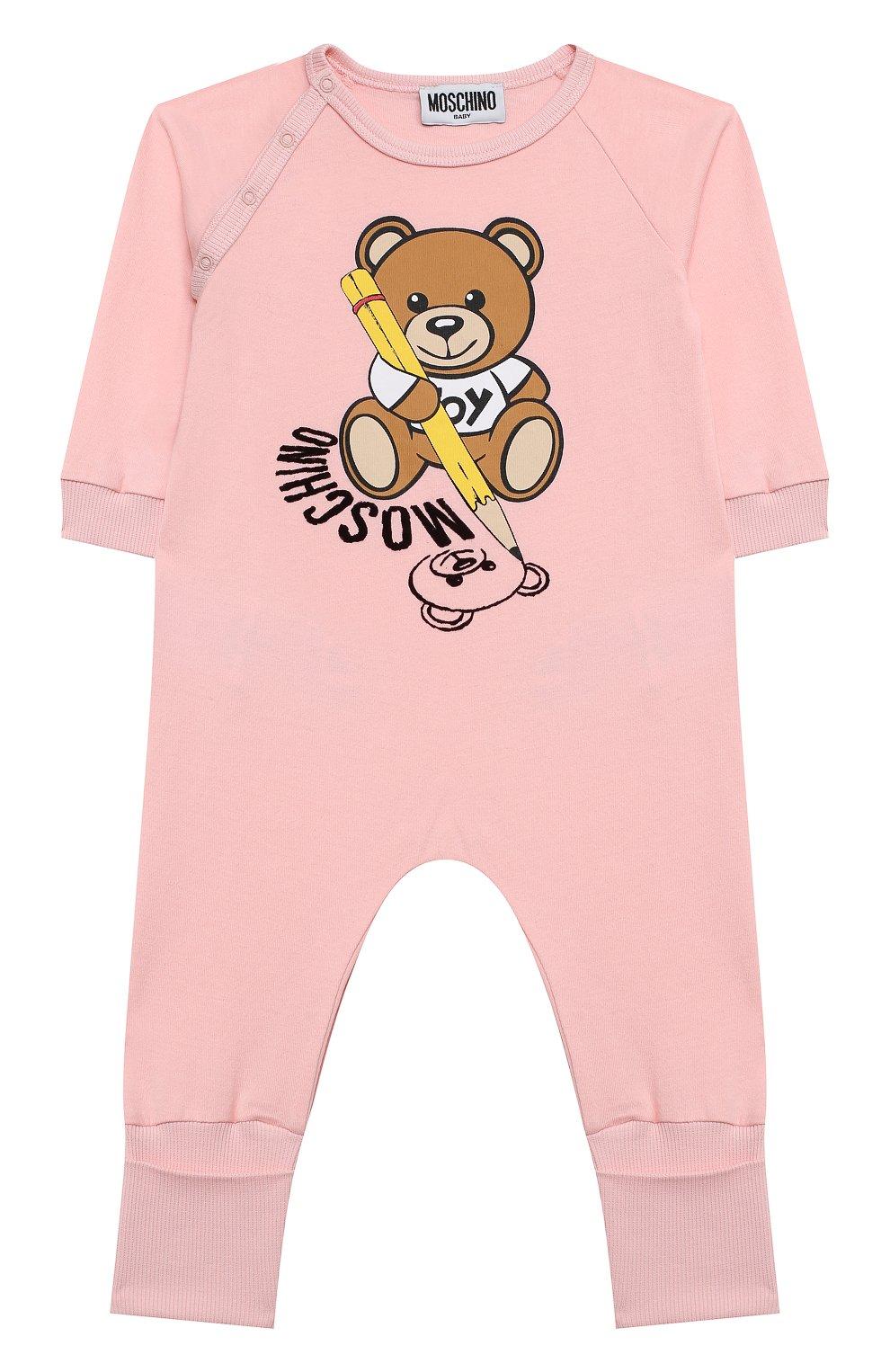 Детский хлопковый комбинезон MOSCHINO розового цвета, арт. MUT01R/LAA10 | Фото 1 (Рукава: Длинные; Материал внешний: Хлопок; Ростовка одежда: 12 мес | 80 см, 3 мес | 62 см, 6 мес | 68 см, 9 мес | 74 см)