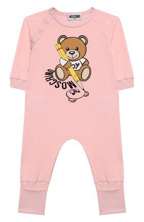 Детский хлопковый комбинезон MOSCHINO розового цвета, арт. MUT01R/LAA10 | Фото 1