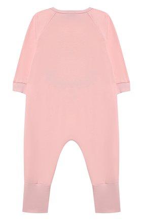 Детский хлопковый комбинезон MOSCHINO розового цвета, арт. MUT01R/LAA10 | Фото 2