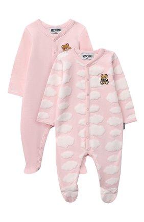 Детский комплект из двух комбинезонов MOSCHINO розового цвета, арт. MUY030/LAF00 | Фото 1