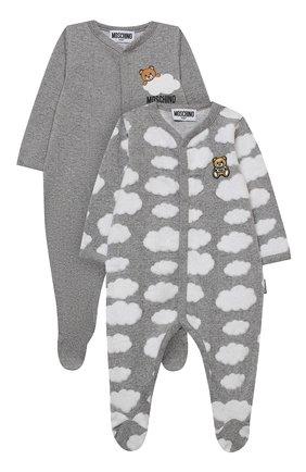 Детский комплект из двух комбинезонов MOSCHINO серого цвета, арт. MUY030/LAF00 | Фото 1