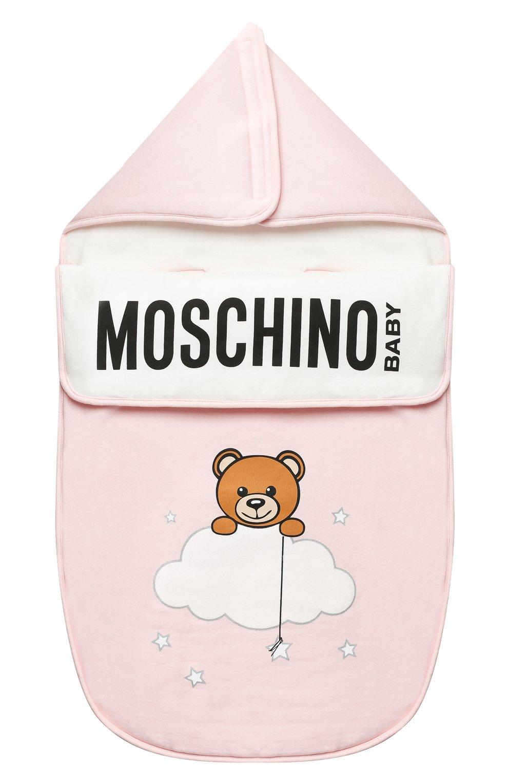 Детский хлопковый конверт MOSCHINO розового цвета, арт. MZE005/LCE00 | Фото 1