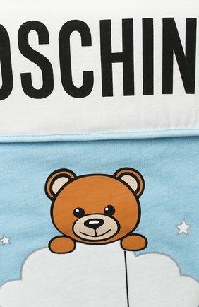Детский хлопковый конверт MOSCHINO голубого цвета, арт. MZE005/LCE00   Фото 3
