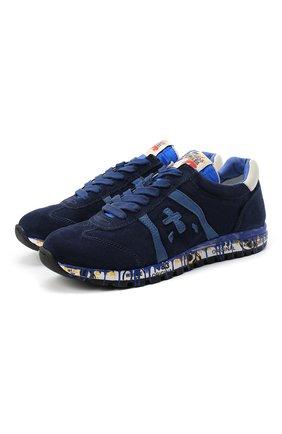 Детские замшевые кроссовки PREMIATA WILL BE синего цвета, арт. LUCY/11-11442/JUN | Фото 1 (Материал внутренний: Натуральная кожа)