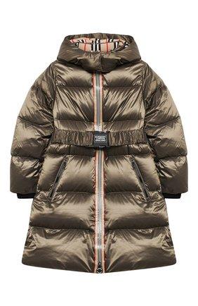Детское пуховое пальто BURBERRY хаки цвета, арт. 8032793   Фото 1