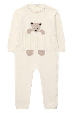 Детский шерстяной комбинезон BABY T белого цвета, арт. 20AI061T/18M-3A | Фото 1