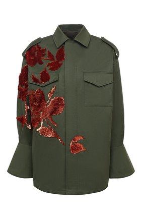 Женская хлопковая куртка VALENTINO хаки цвета, арт. UB3CJ1K52C0 | Фото 1