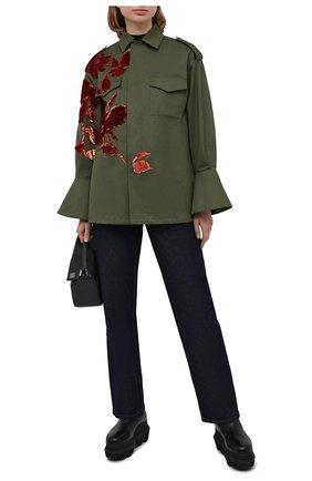 Женская хлопковая куртка VALENTINO хаки цвета, арт. UB3CJ1K52C0 | Фото 2