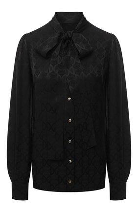 Женская шелковая блузка DOLCE & GABBANA черного цвета, арт. F5N80T/FJ1IC   Фото 1