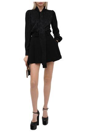 Женская шелковая блузка DOLCE & GABBANA черного цвета, арт. F5N80T/FJ1IC   Фото 2
