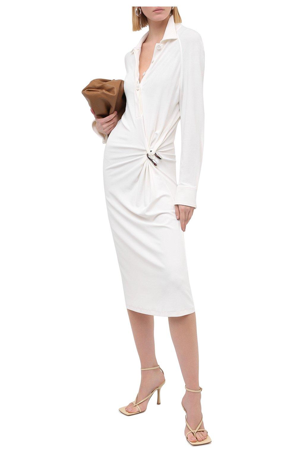 Женские кожаные босоножки the stretch BOTTEGA VENETA бежевого цвета, арт. 608835/VBSF0 | Фото 2