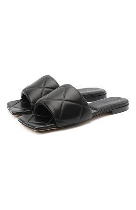 Женские кожаные шлепанцы bv rubber BOTTEGA VENETA черного цвета, арт. 639940/VBP30 | Фото 1