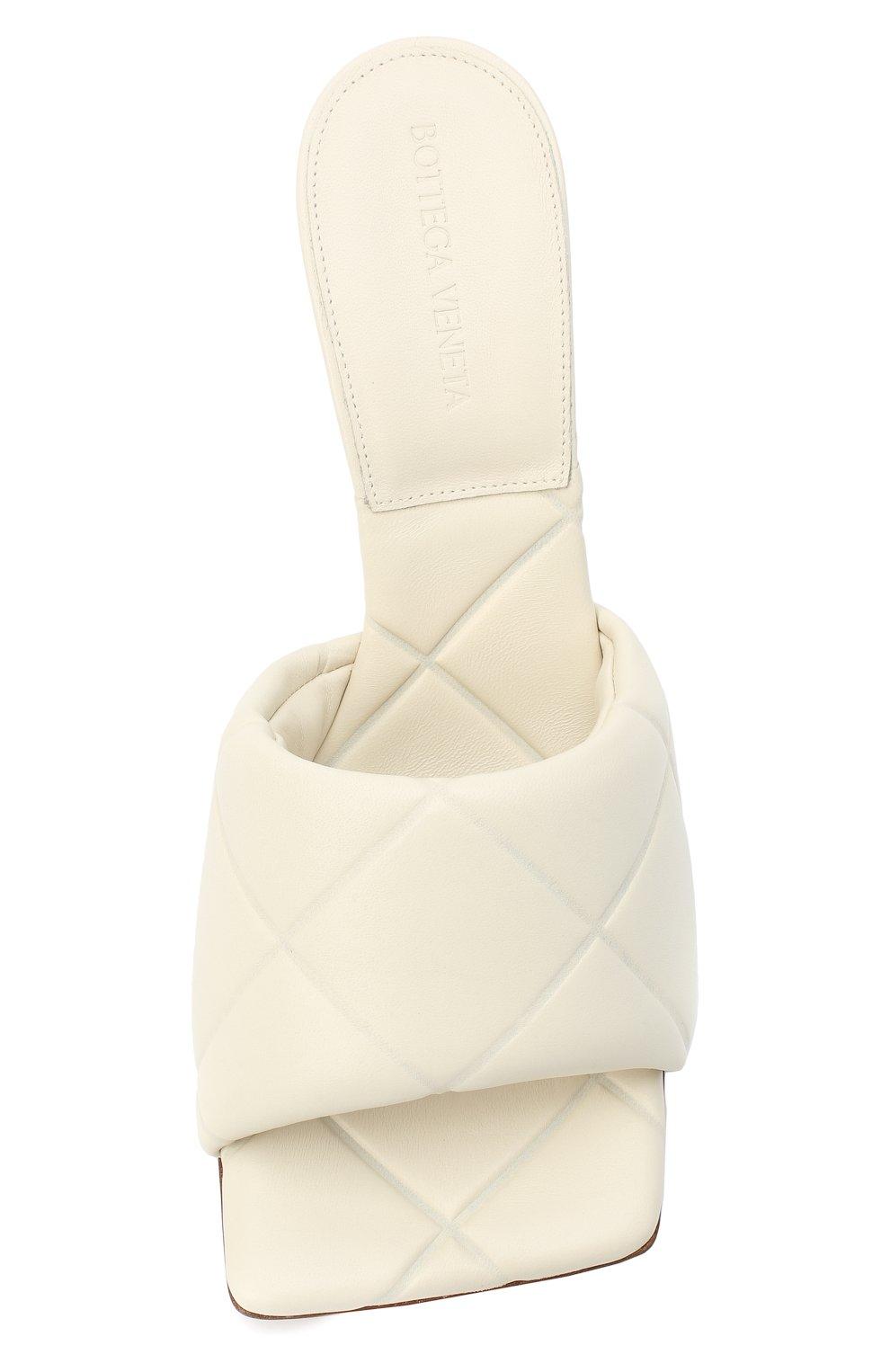 Женские кожаные мюли bv rubber lido BOTTEGA VENETA кремвого цвета, арт. 639943/VBP30 | Фото 5