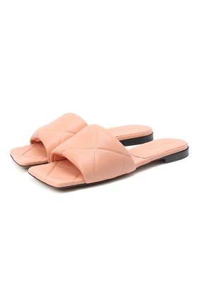 Женские кожаные шлепанцы bv rubber BOTTEGA VENETA светло-розового цвета, арт. 639940/VBP30   Фото 1