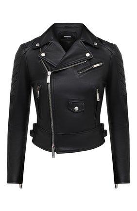 Женская кожаная куртка DSQUARED2 черного цвета, арт. S75AM0800/SY1491 | Фото 1