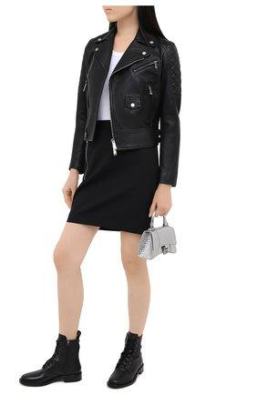 Женская кожаная куртка DSQUARED2 черного цвета, арт. S75AM0800/SY1491 | Фото 2
