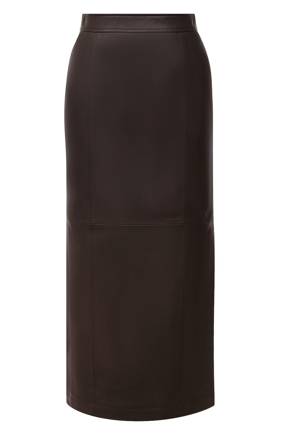 Женская кожаная юбка TWINS FLORENCE темно-коричневого цвета, арт. TWFAI20G0N0003   Фото 1