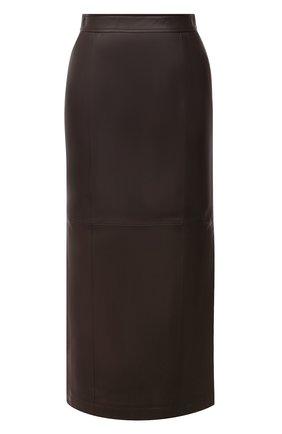 Женская кожаная юбка TWINS FLORENCE темно-коричневого цвета, арт. TWFAI20G0N0003 | Фото 1