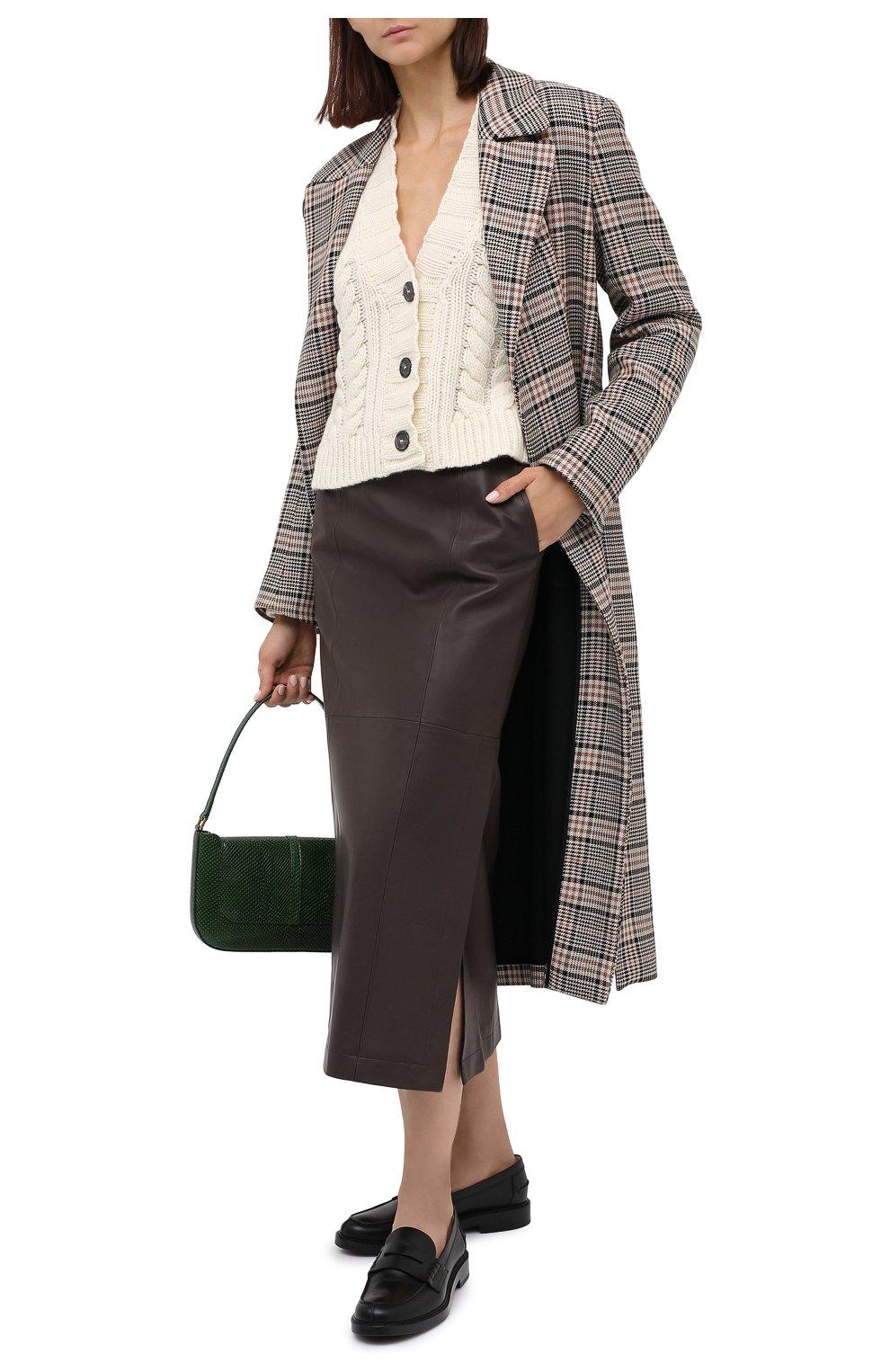 Женская кожаная юбка TWINS FLORENCE темно-коричневого цвета, арт. TWFAI20G0N0003 | Фото 2