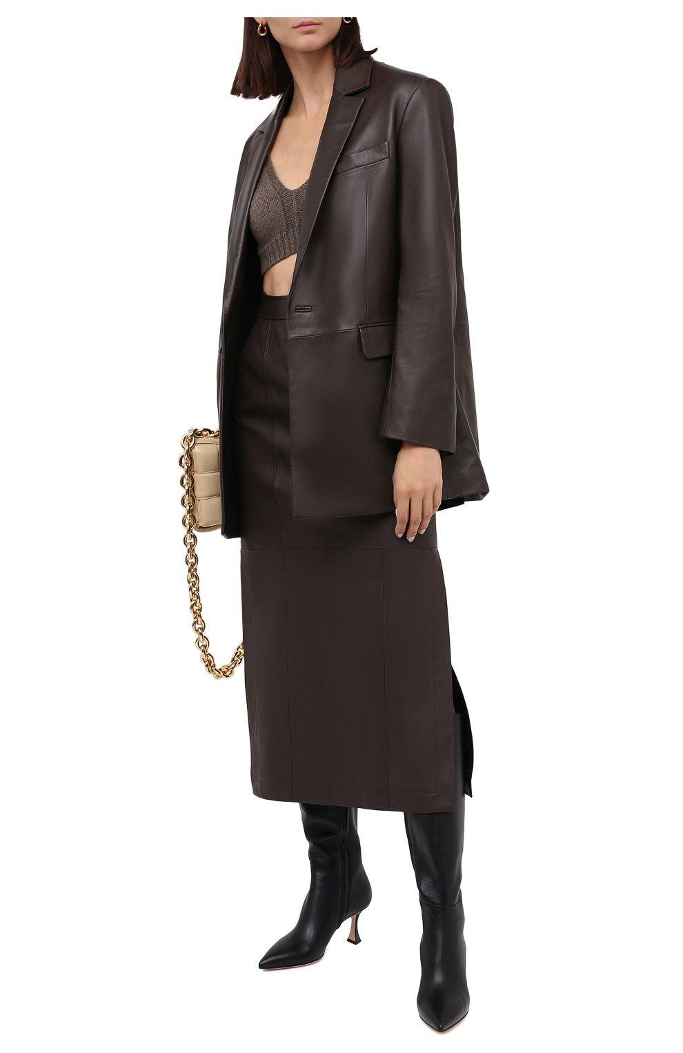 Женская кожаная юбка TWINS FLORENCE темно-коричневого цвета, арт. TWFAI20G0N0003   Фото 3