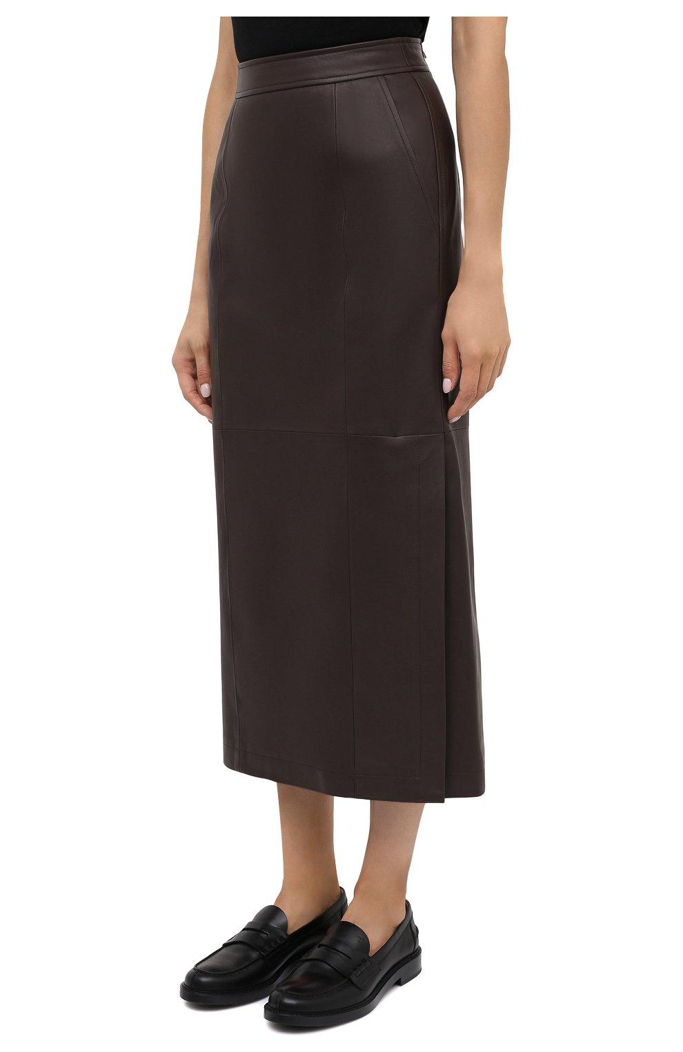 Женская кожаная юбка TWINS FLORENCE темно-коричневого цвета, арт. TWFAI20G0N0003   Фото 4