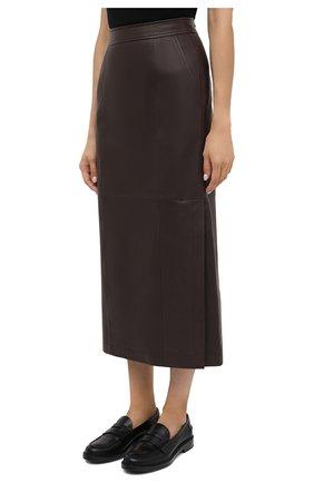 Женская кожаная юбка TWINS FLORENCE темно-коричневого цвета, арт. TWFAI20G0N0003 | Фото 4
