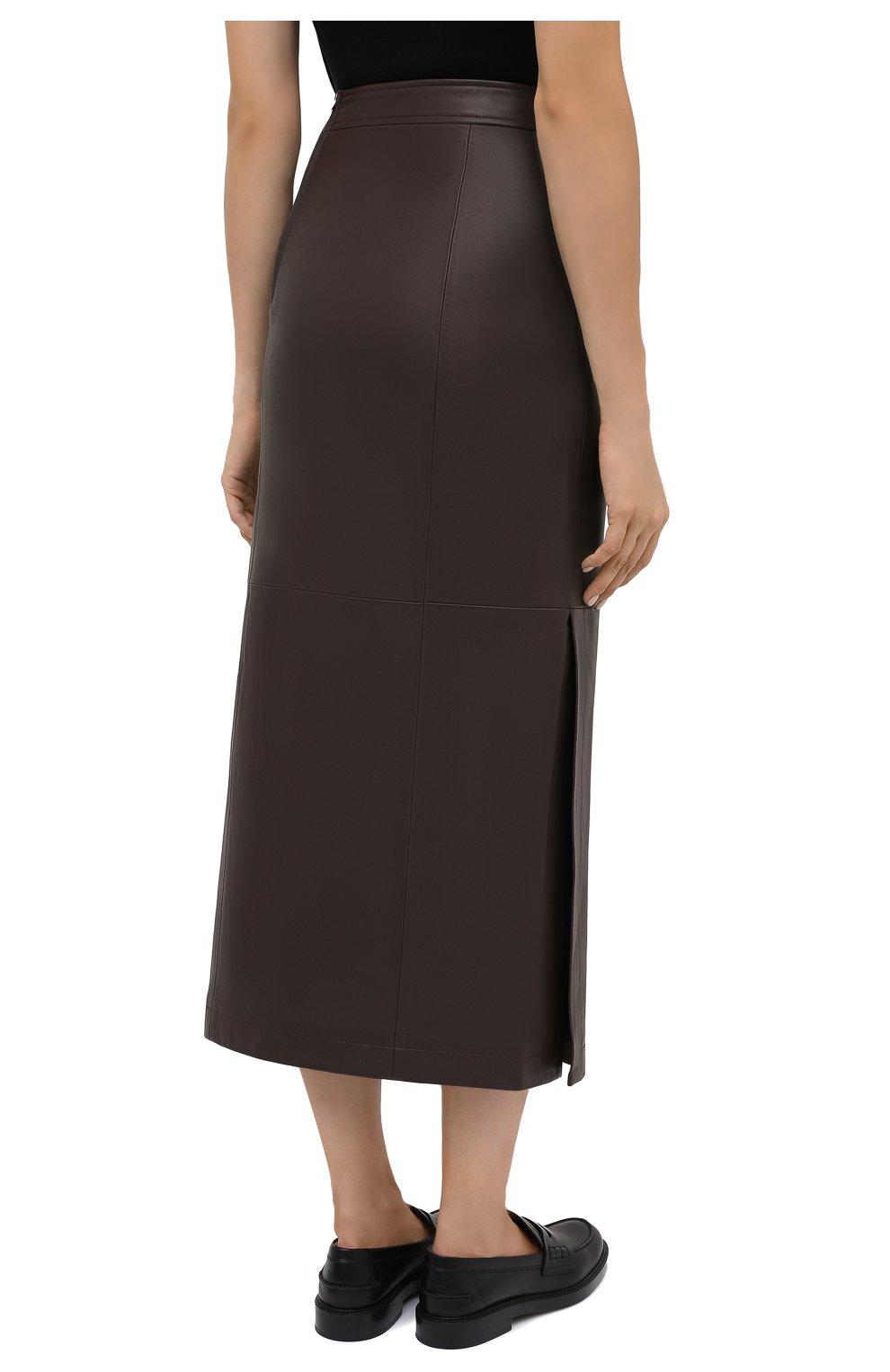 Женская кожаная юбка TWINS FLORENCE темно-коричневого цвета, арт. TWFAI20G0N0003   Фото 5