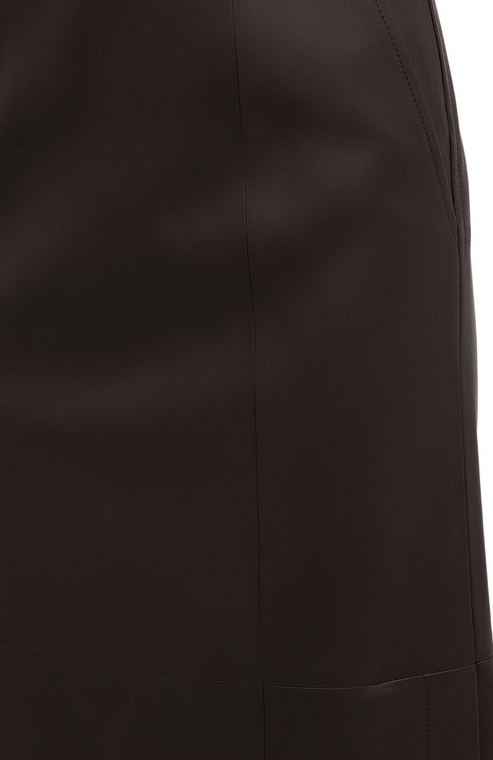 Женская кожаная юбка TWINS FLORENCE темно-коричневого цвета, арт. TWFAI20G0N0003   Фото 6