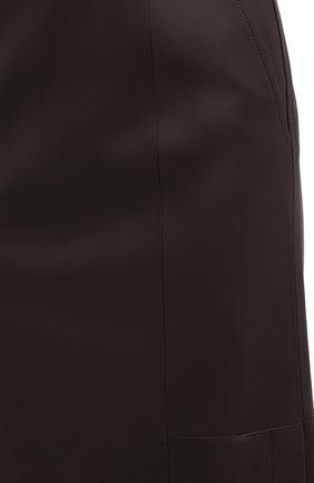 Женская кожаная юбка TWINS FLORENCE темно-коричневого цвета, арт. TWFAI20G0N0003 | Фото 6