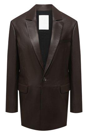 Женский кожаный жакет TWINS FLORENCE темно-коричневого цвета, арт. TWFAI20GIA0001 | Фото 1
