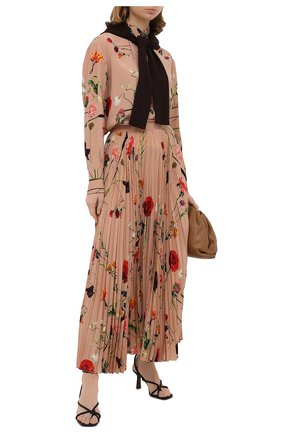 Женская шелковая юбка VALENTINO бежевого цвета, арт. UB0RA702624 | Фото 2