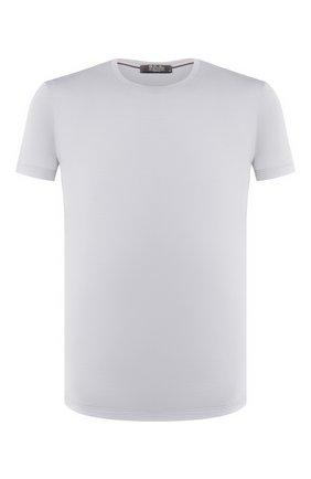 Мужская шерстяная футболка LORO PIANA светло-серого цвета, арт. FAF6689 | Фото 1 (Длина (для топов): Стандартные; Материал внешний: Шерсть; Рукава: Короткие; Мужское Кросс-КТ: Футболка-одежда; Стили: Кэжуэл; Принт: Без принта)