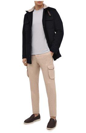 Мужская шерстяная футболка LORO PIANA светло-серого цвета, арт. FAF6689 | Фото 2 (Длина (для топов): Стандартные; Материал внешний: Шерсть; Рукава: Короткие; Мужское Кросс-КТ: Футболка-одежда; Стили: Кэжуэл; Принт: Без принта)