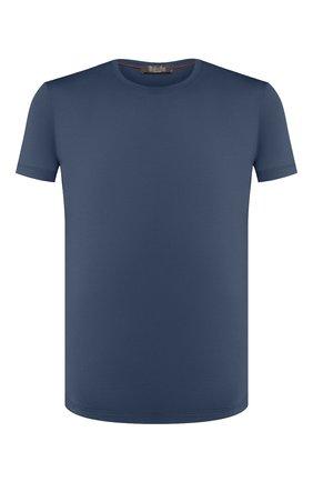 Мужская шерстяная футболка LORO PIANA синего цвета, арт. FAF6689 | Фото 1 (Материал внешний: Шерсть; Рукава: Короткие; Длина (для топов): Стандартные; Стили: Кэжуэл; Принт: Без принта; Мужское Кросс-КТ: Футболка-одежда)