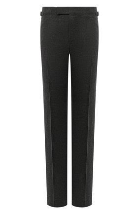 Мужские шерстяные брюки TOM FORD темно-серого цвета, арт. Q31R11/610043 | Фото 1 (Длина (брюки, джинсы): Стандартные; Материал подклада: Купро; Материал внешний: Шерсть; Случай: Повседневный; Стили: Классический)