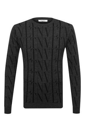 Мужской джемпер из шерсти и вискозы VALENTINO темно-серого цвета, арт. UV0KC10D6LT | Фото 1