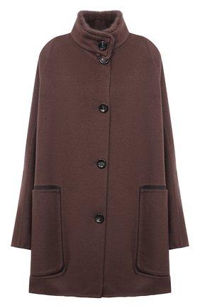 Женское пальто из шерсти и кашемира MANZONI24 коричневого цвета, арт. 20M701-DB1V/38-46   Фото 1