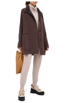 Женское пальто из шерсти и кашемира MANZONI24 коричневого цвета, арт. 20M701-DB1V/38-46   Фото 2