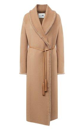 Женское пальто из шерсти и кашемира MANZONI24 бежевого цвета, арт. 20M713-DB1VL8/38-46 | Фото 1