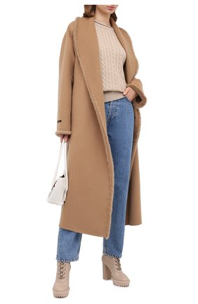 Женское пальто из шерсти и кашемира MANZONI24 бежевого цвета, арт. 20M713-DB1VL8/38-46 | Фото 2