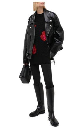 Женский шерстяной свитер VERSACE черного цвета, арт. A86877/A235897   Фото 2 (Рукава: Длинные; Длина (для топов): Удлиненные; Материал внешний: Шерсть; Женское Кросс-КТ: Свитер-одежда; Стили: Романтичный)