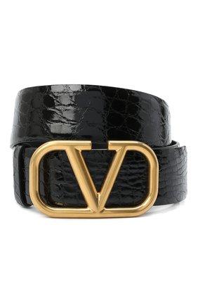 Женский кожаный ремень  VALENTINO черного цвета, арт. UW2T0S11/QRL/AMIS   Фото 1 (Материал: Кожа)