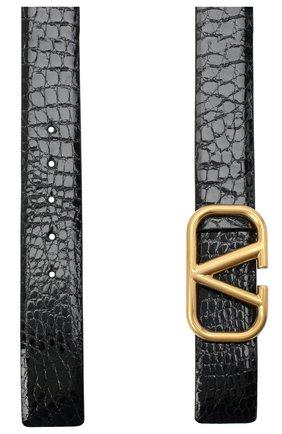 Женский кожаный ремень  VALENTINO черного цвета, арт. UW2T0S11/QRL/AMIS   Фото 2 (Материал: Кожа)