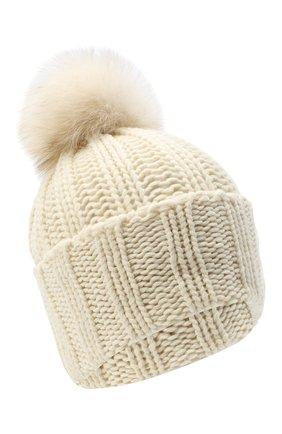 Женская вязаная шапка из кашемира INVERNI белого цвета, арт. 1128CMG1 | Фото 1