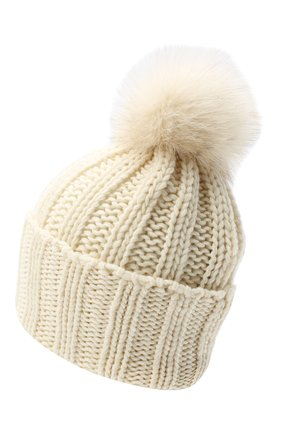 Женская вязаная шапка из кашемира INVERNI белого цвета, арт. 1128CMG1 | Фото 2