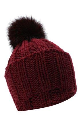 Женский вязаная шапка из кашемира INVERNI бордового цвета, арт. 1128CMG1 | Фото 1